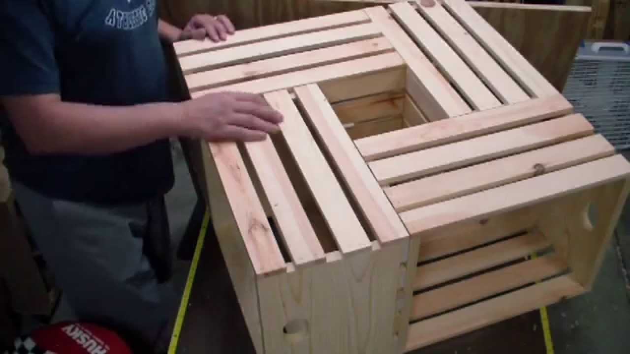 How to make a crate coffee table youtube for Coffee table made out of wooden crates