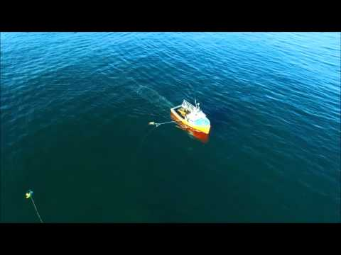 Drone tapes lobster fishing - can see traps on bottom