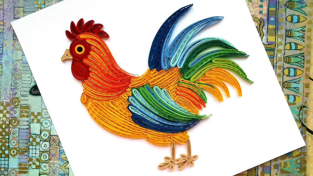 Paper christmas decoration on the wall paper quilling cock 2017 youtube - Cock designing ...