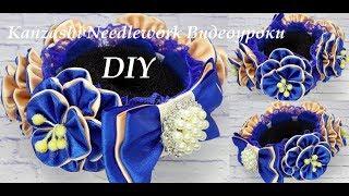 DIY Резинка на пучок.  МК Украшение на гульку.  Цветы из атласных лент. Канзаши