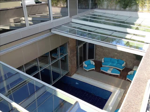 ERBR YAPI  Retractable Pool Enclosures  Glass Pool Cover Swimming Pool Enclosure  YouTube
