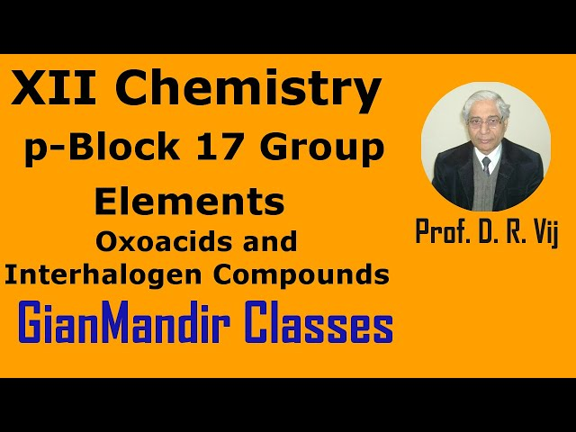 XII Chemistry | p-Block 17 Group Elements | Oxoacids and Interhalogen Compounds by Ruchi Ma'am