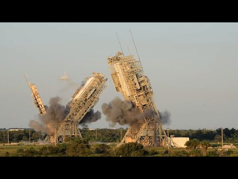 Raw: Two Cape Canaveral Launch Towers Demolished