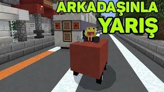 Arkadaşınla MCPE'de Yarış! Minecraft PE Araba Modu!