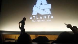 Tristan Risk and James Bickert introduce Frankenstein Created Bikers at the Atlanta film festival.