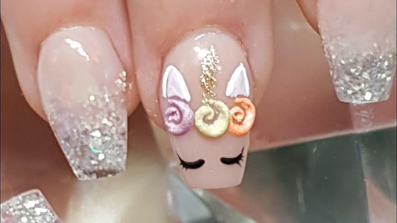 Acrylic Nails Bitten Ski Slope Nails Natural Nail Prep Form Fitting Unicorn Nail Art Youtube