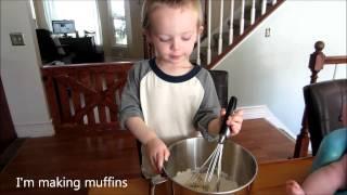 3 Year Old Makes A Baking Tutorial! - Delicious Banana Crumb Muffins