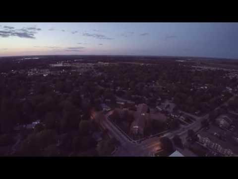 Southeast Urbana, IL at Dusk- 4K Drone Video