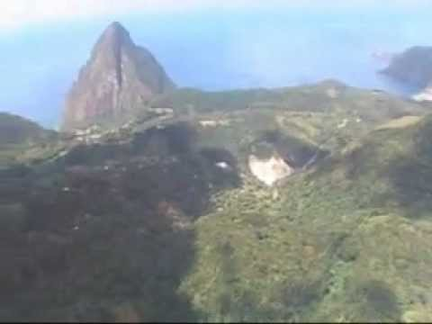 Helicopter flight around St.Lucia in Caribbean