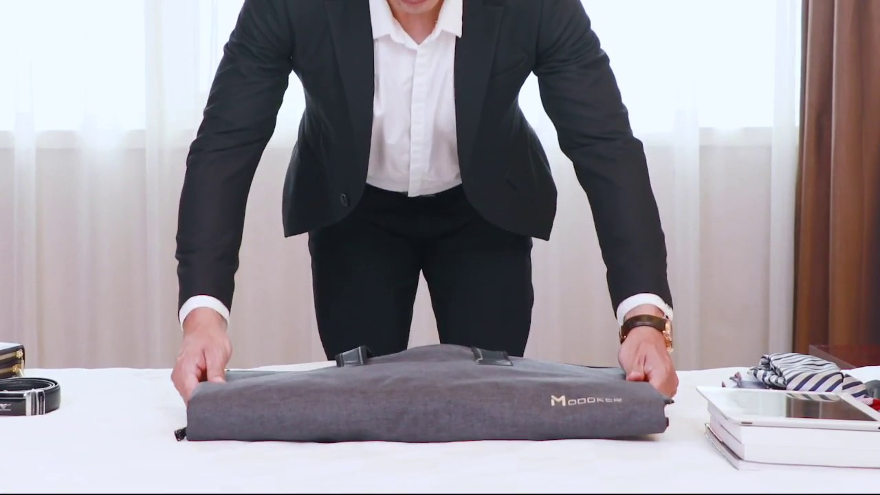 29ae3e43e Modoker Carry On Garment Bag for Business- No Wrinkles Trouble - YouTube
