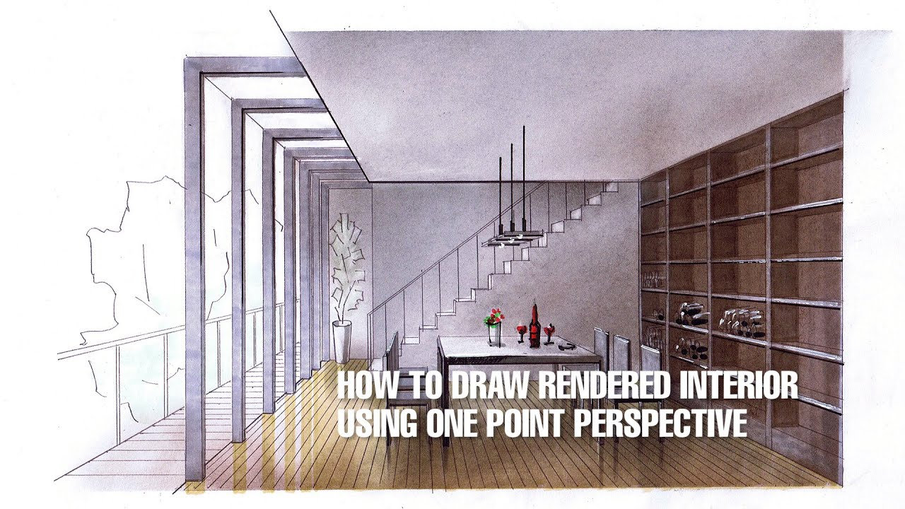 One point perspective living room drawing - How To Draw Rendered Interior Using One Point Perspective