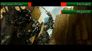 The Fallen and Megatron vs Optimus Prime with health bars (Transformers 2)