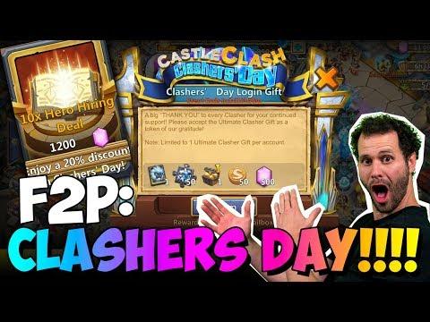 JT's F2P 1200 HERO Gems Rolls Clashers Day ONETIME! Castle Clash