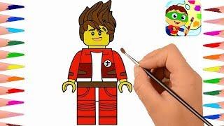 LEGO SUPER NINJA KAI - LEARN COLORS and ENGLISH for Kids by Drawing - how to draw ninjaka kai