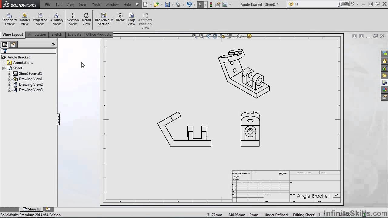 Solidworks drawing tools tutorial auxiliary view youtube for Solidworks drawing template tutorial