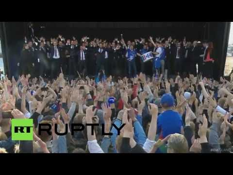 Iceland performs ultimate 'Viking war chant', throws epic homecoming party for Euro 2016 team