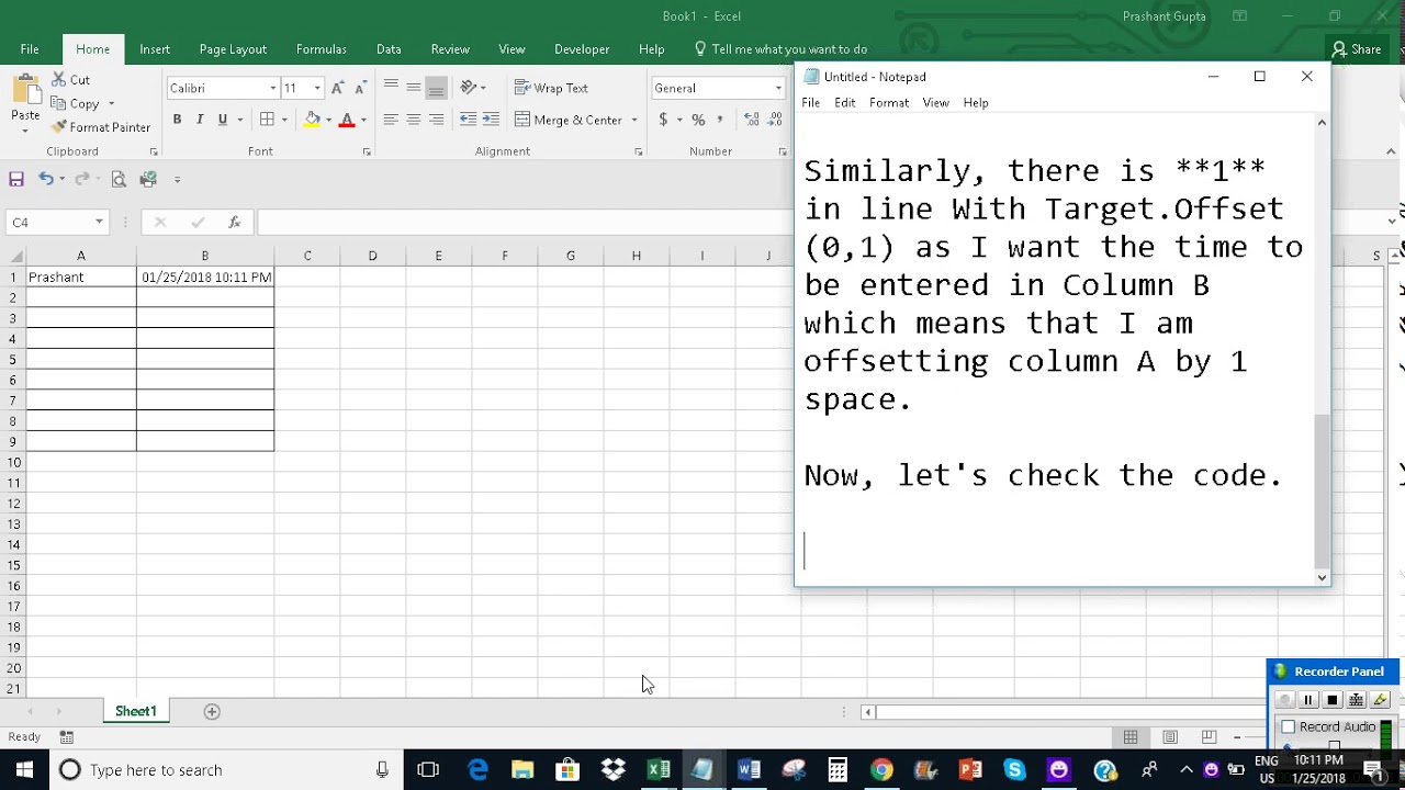 how to add date cell was changed excel