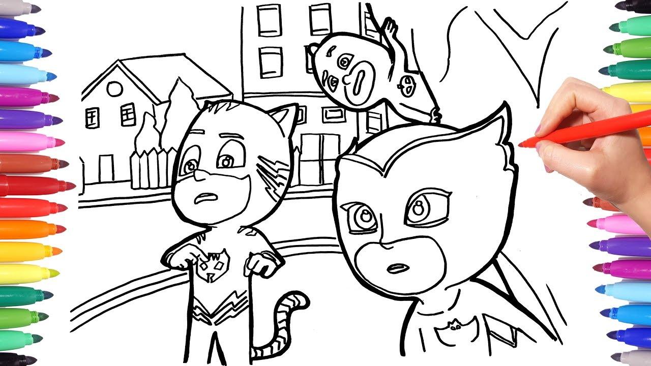 pj masks coloring pages for kids  catboy owlette gekko