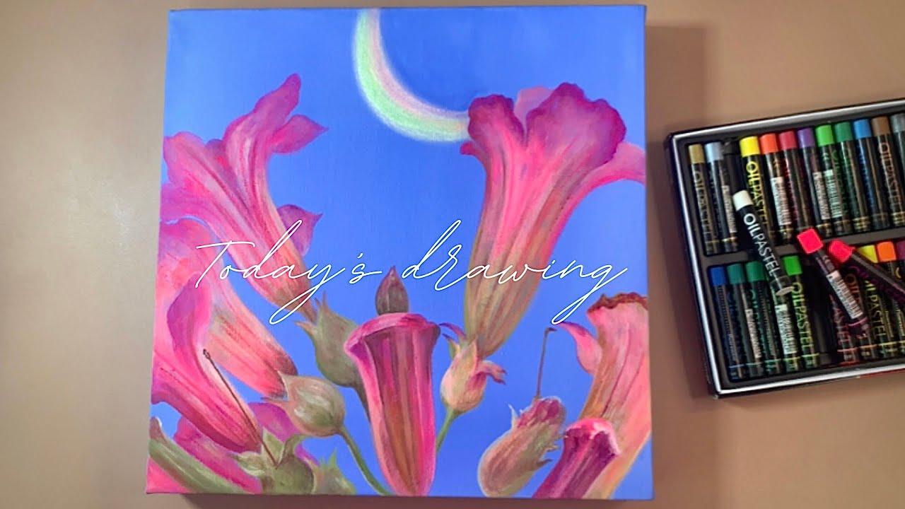 캔버스 아크릴화 | 오일파스텔 | 보테니컬아트 | 식물일러스트 | Paint flowers under the moonlight with acrylic paint