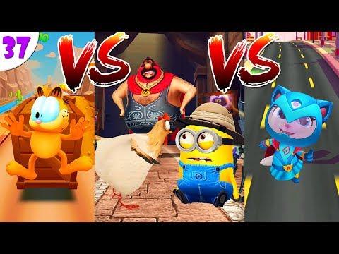 ГОВОРЯЩИЙ ТОМ ПОГОНЯ ГЕРОЕВ VS  Garfield Rush VS Minion Rush: Гадкий Я миссии дня  ч.37