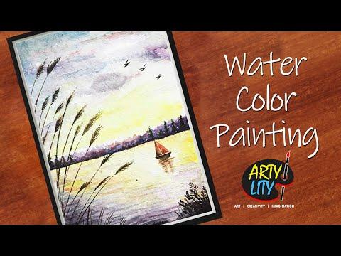 DIY WaterColor Landscape Painting | Easy waterColor landscape painting | landscape painting tutorial