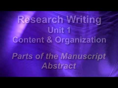 Research Writing APA/MLA Unit 1.4 The Abstract