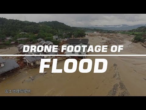 Drone footage shows the devastation caused by floods in Japan