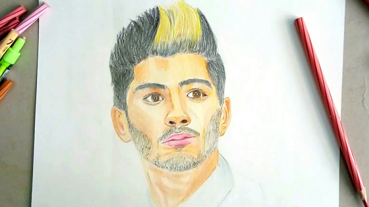 How to draw zayn malik drawing and story of zayn malik how to draw zayn celeb portrait5