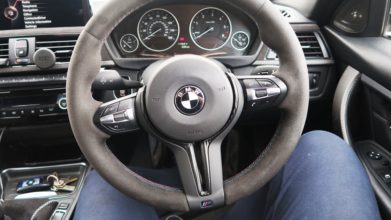 M4 Steering Wheel Trim Fitted In A Bmw F30 Wrapped In