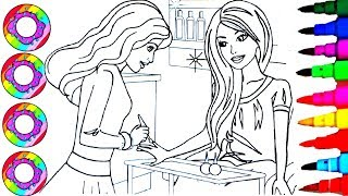 Colouring Drawings Disney s Barbie and Friend at the Nail Art Saloon Coloring Pages