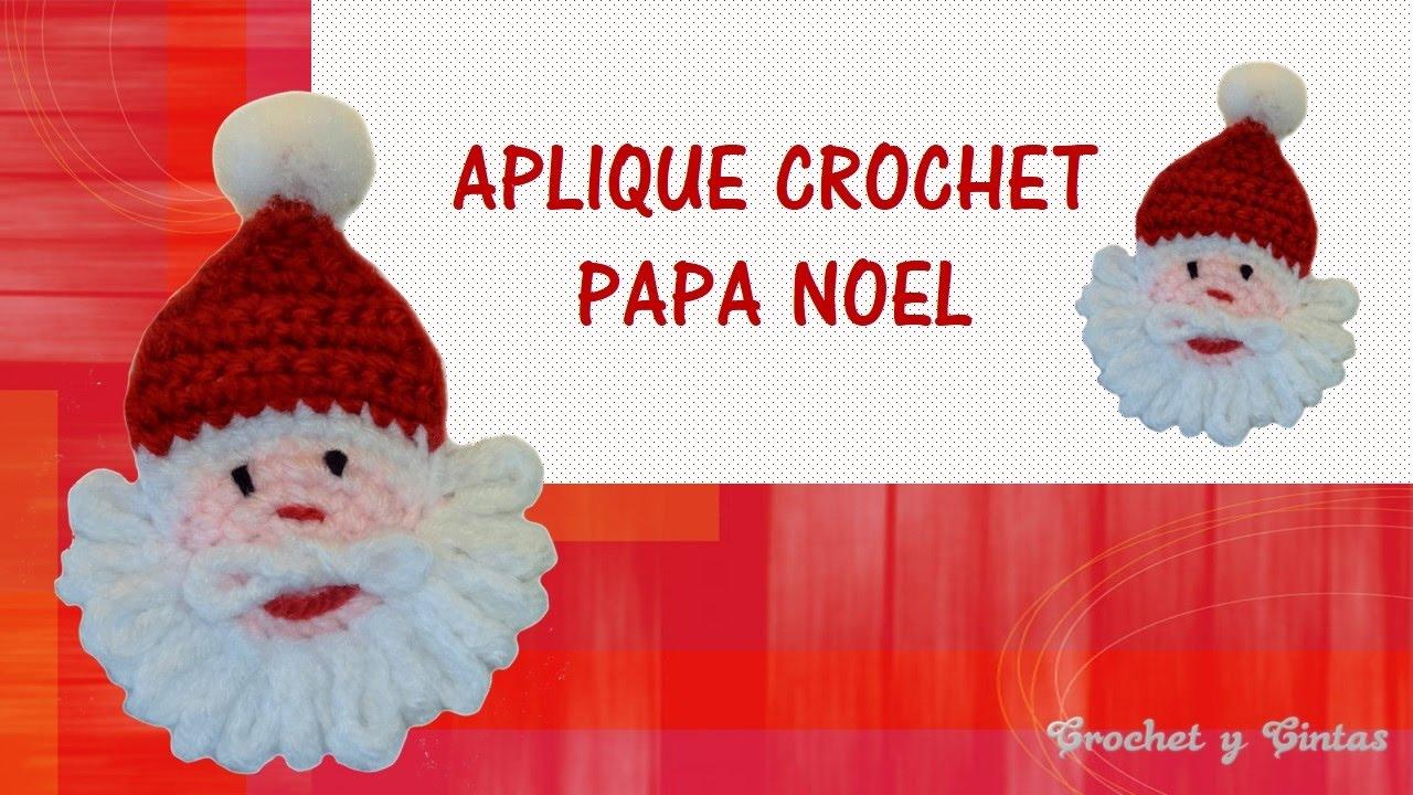 Aplique – adorno navideño de Papá Noel tejido a crochet (ganchillo ...