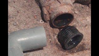 Монтаж перехода с чугунной канализационной трубы на пластиковую. Мастер класс