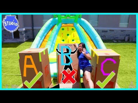 DONT Push the Wrong MYSTERY BOX into the Water of Giant Inflatable Water Slide!!!