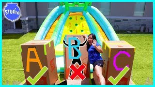 Baixar DONT Push the Wrong MYSTERY BOX into the Water of Giant Inflatable Water Slide!!!