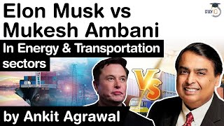 Elon Musk vs Mukesh Ambani - Both giants to compete in Energy and Transportation sectors #UPSC IAS