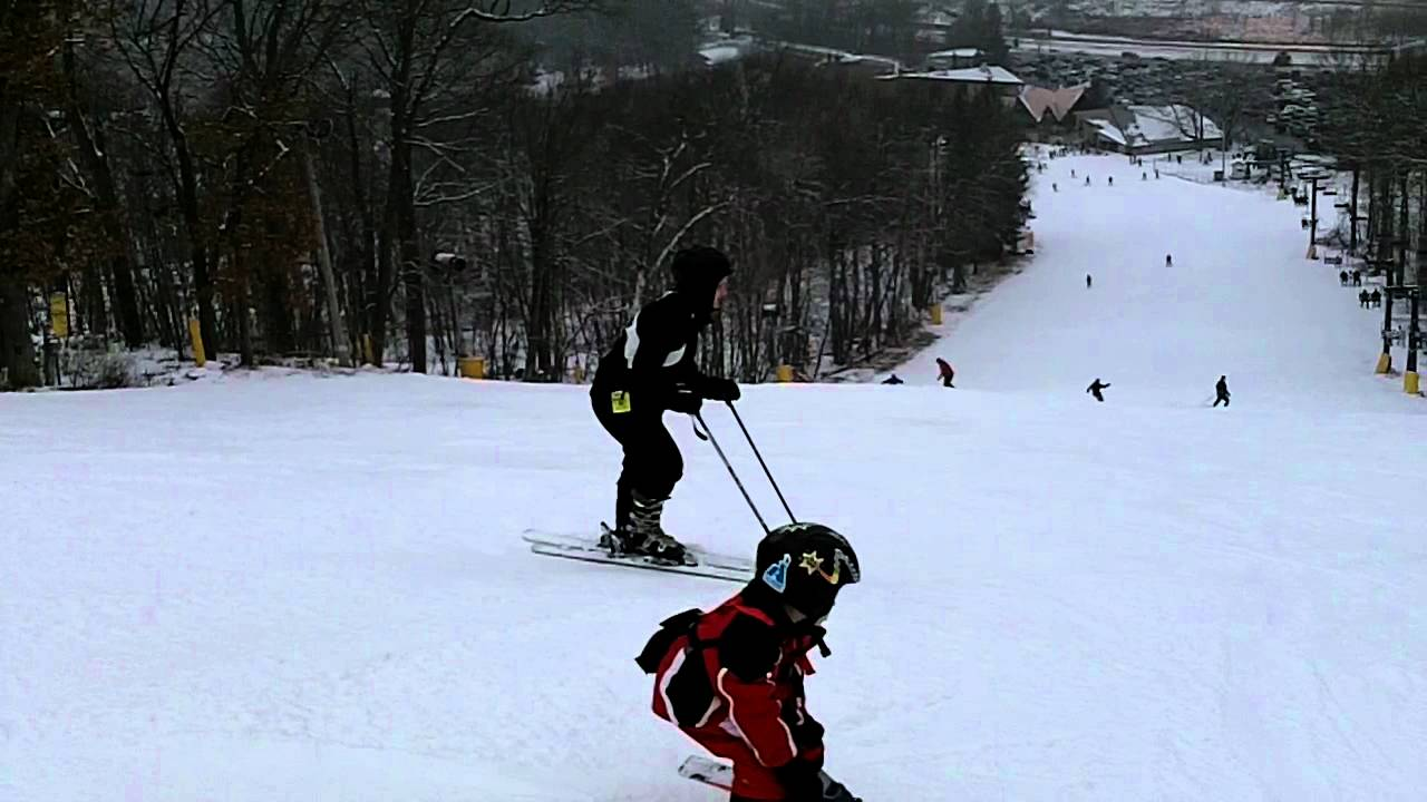 Kids Skiing Black Diamond At Cascade Mountain In Portage