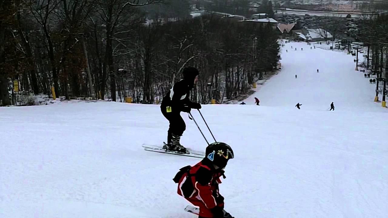 Kids Skiing Black Diamond At Cascade Mountain In Portage WI
