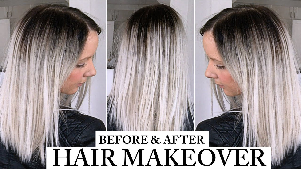 Dark Roots Balayage Platinum Silver Grey Hair Before And After