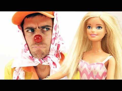 Funny Clown and Barbie Doll videos.