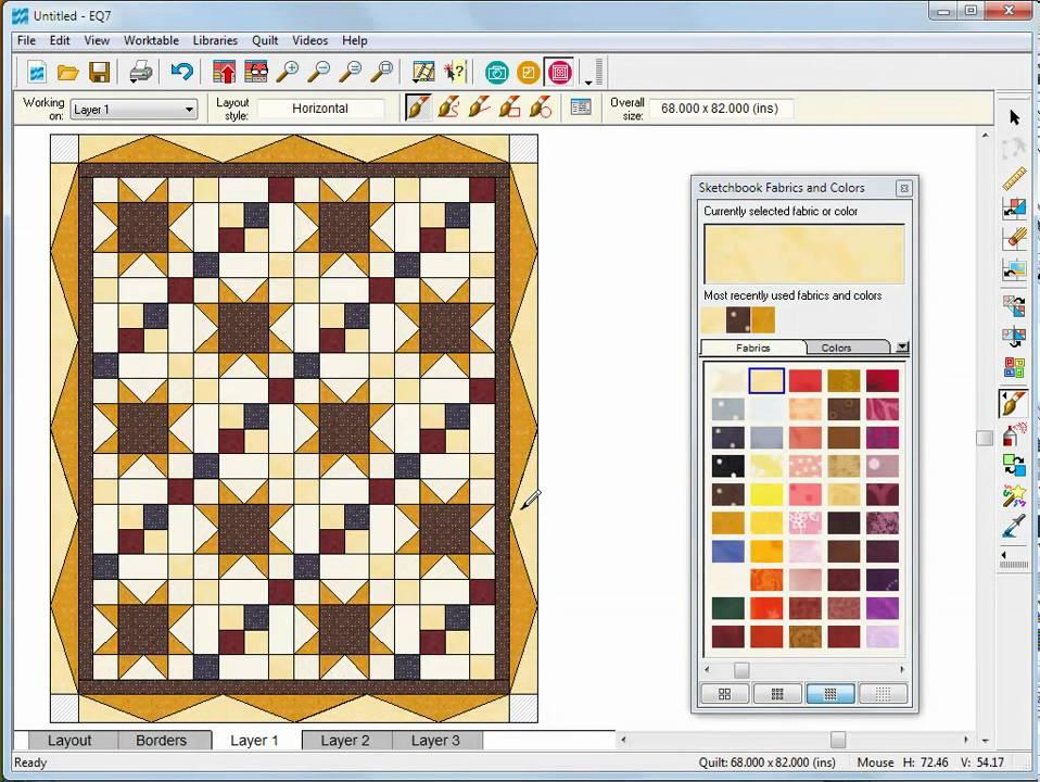 Designing a Basic Quilt in EQ7 - YouTube : eq7 quilting software - Adamdwight.com