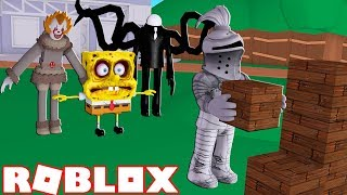 ROBLOX ESCAPING EVIL DENIS, FOXY, AND SPONGEBOB! Roblox Build To Survive 2