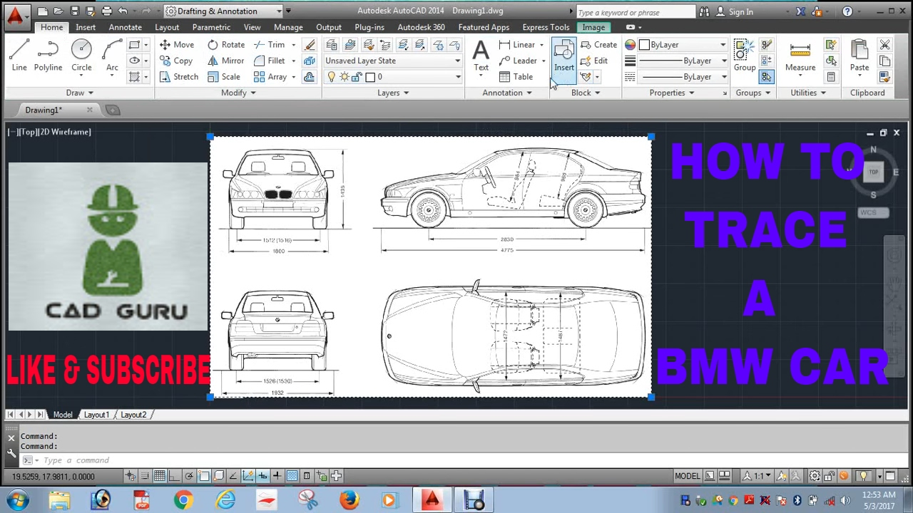 How To Tracing Bmw Car Image In Auto Cad Hindi Youtube