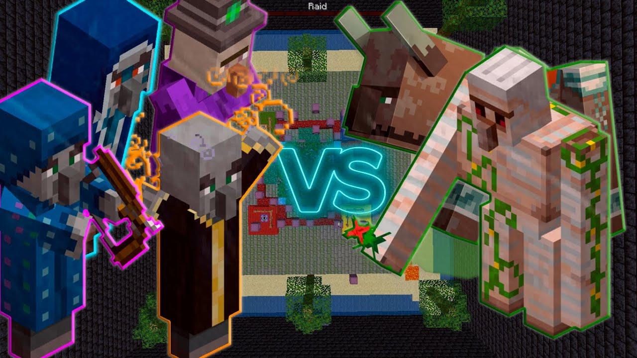 Evoker + Witch + Illusioner + Iceologer vs Iron Golem + Ravager - Minecraft Mob Battle 1.16.4