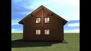 Сруб дома 9*10 с мансардой из брёвен д26(В доме пять спален, прихожая, лестничные холлы, два санузла, кухня-студия с камином. Заказать проект или..., 2016-01-20T04:20:55.000Z)