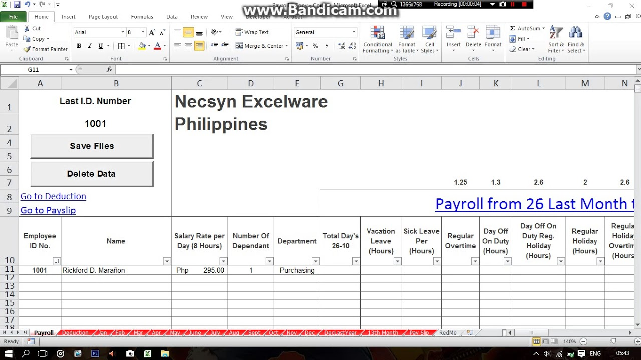philippines simple payroll system using excel part1 youtube
