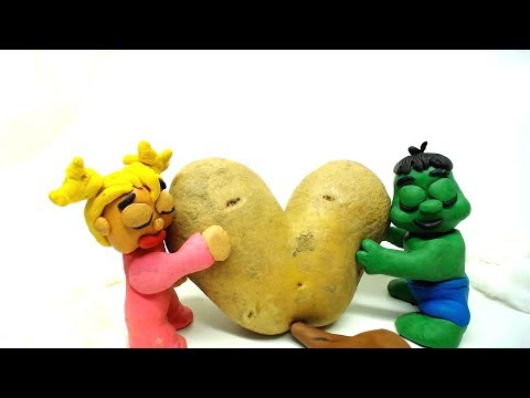 Baby Hulk and Elsa Frozen Magic Potato Play Doh Cartoon Superhero Stop Motion Movie