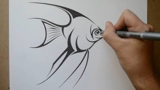 How to Draw an Angelfish - Tribal Tattoo Design Style