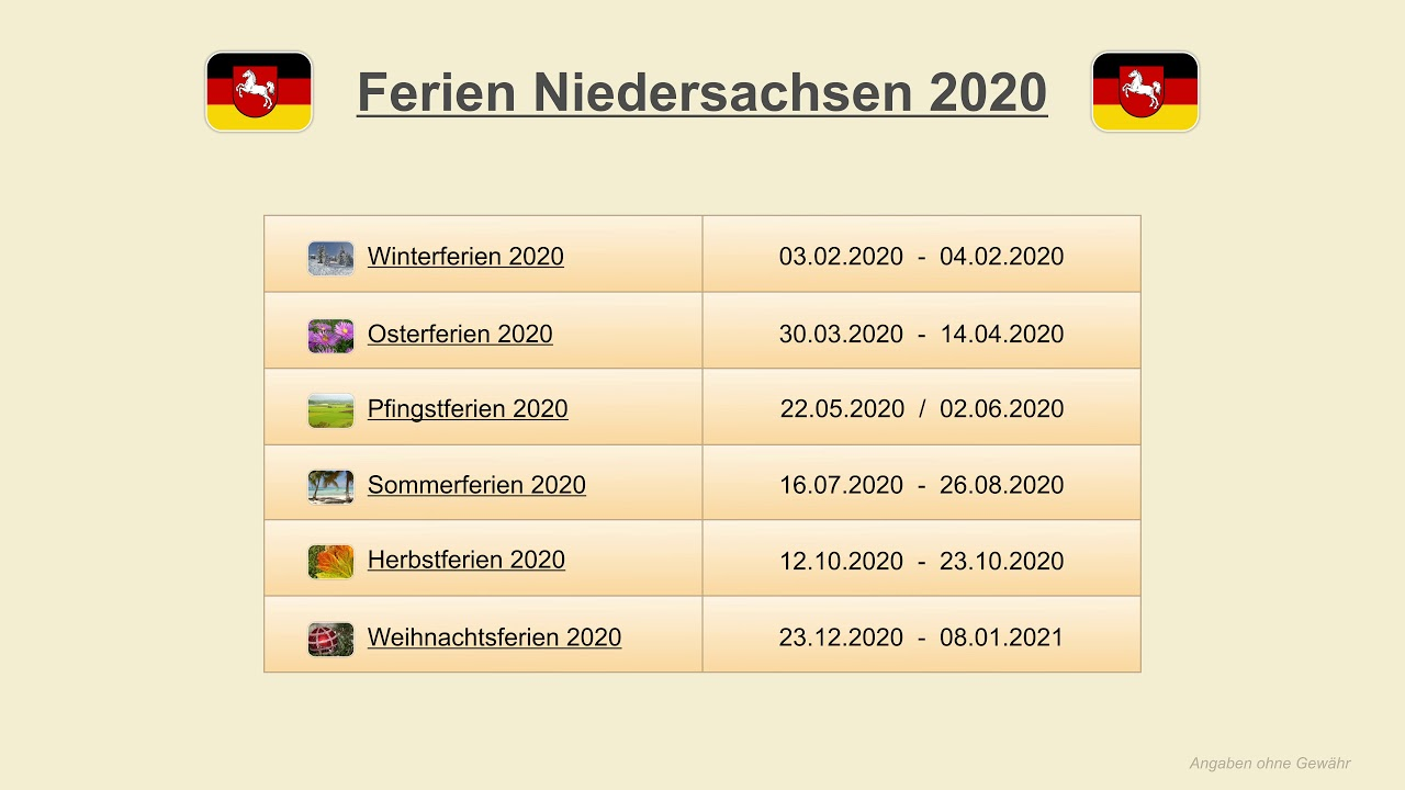 Herbstferien 2020 in niedersachsen