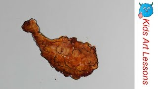 Food Drawings: How to Draw A Fried Chicken Drumstick Easily in Oil Pastel Step By Step