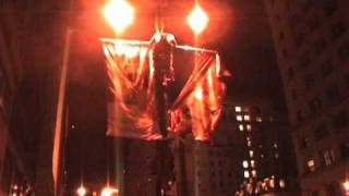 Phillies fan almost falls & loses pants climbling lamp post after world series '08